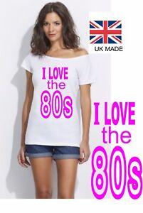 6219ae9a7 80s hot retro Slash Neck ladies off the shoulder t shirt T Party Sizes S ...
