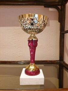 Pokal | rot-goldfarben | Sockel | ohne Gravur | massiv | ca. 700 g | ca. 25 cm