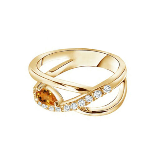 Details about  /Criss Cross 6X5 MM Pear Shaped 9K Yellow Gold November Citrine Stackable Ring