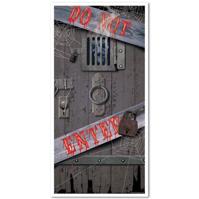 HALLOWEEN SPOOKY DO NOT ENTER DOOR COVER BANNER POSTER PLASTIC WALL DECORATION