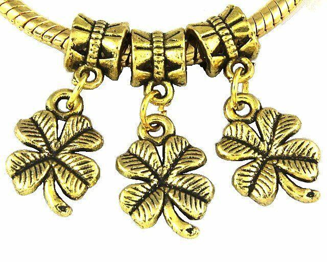 30pcs Antique Style Gold Plated Four-Leaf Clover Dangle Charms Fit Bracelet J114