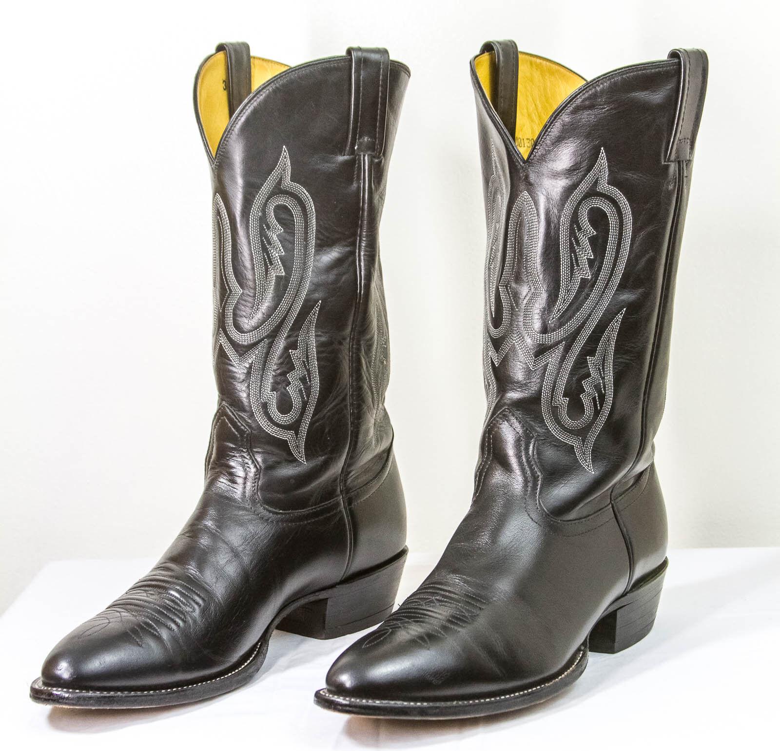 Nocona Cuero del zurriago negro botas de vaquero 11.5C Muy Buen Estado Hecho en EE. UU.
