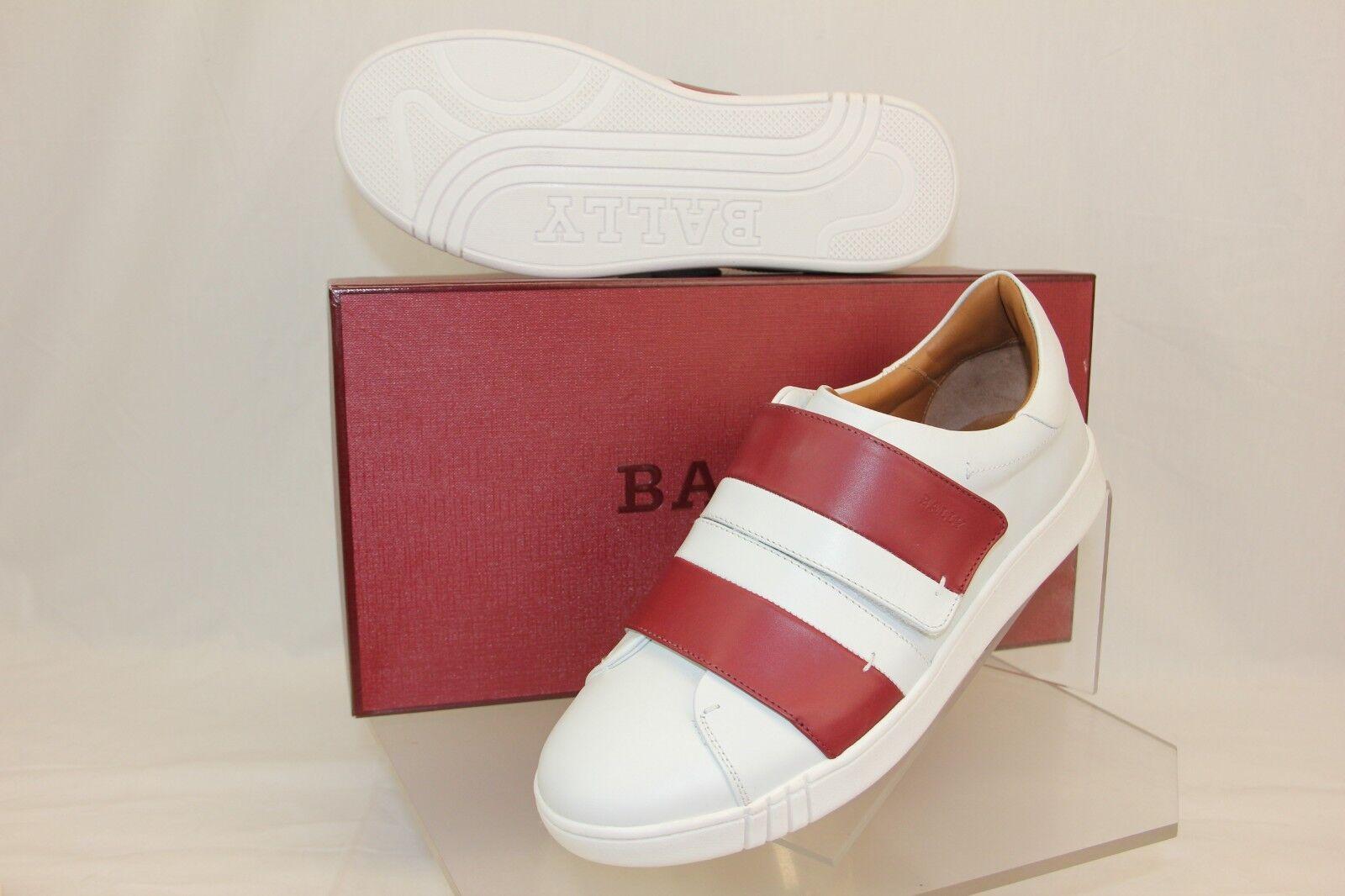 NIB NIB NIB BALLY WILLET bianca rosso LEATHER LOGO SWISS scarpe da ginnastica 13 US 46 ITALY fc30b0
