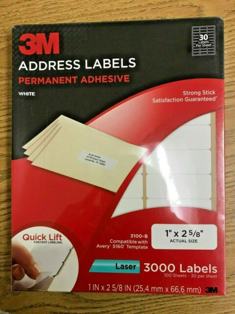 "750 labels 1/"" x 2-5//8/"" shipping mailing address blank ID label white"