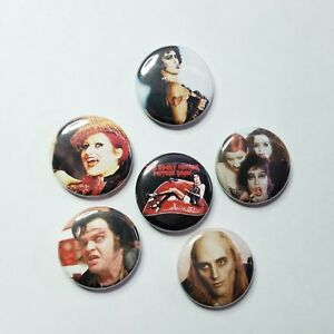 ROCKY-HORROR-1-034-PINBACK-BUTTON-LOT-of-6-pin-punk-horror-musical-frankenfurter