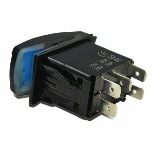 5Pin 12V WINCH POWER Push Button Rocker Switch Blue LED Light Car Boat ON-OFF