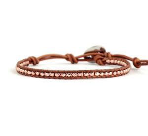 Gold-Rose-Gold-or-Silver-Single-Wrap-Beaded-Brown-Genuine-Leather-Boho-Bracelet
