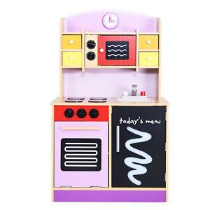Image Is Loading Goplus Wood Kitchen Toy Kids Cooking Pretend Play