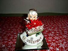 Vintage LEFTON December Birthday Spaghetti ANGEL Poinsettia BLUE ZIRCON #489