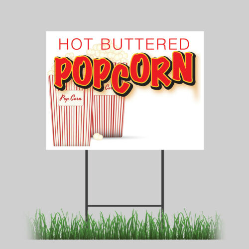 "18/""x24/"" Popcorn Yard Sign Butter Salt Corn On Cob Hot Fresh Concession Stand"
