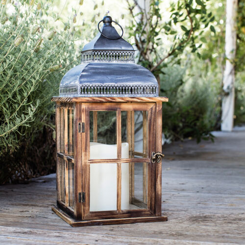 Distressed Rustic Wooden Battery Operated Indoor LED Decorative Candle Lantern