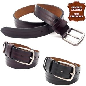 Leather-Belt-Real-Curl-Plain-Barbless-Rectangular-Men-Women