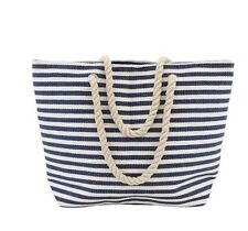 Blue & White Striped Nautical Summer Beach bag With rope Handle Holiday Luggage