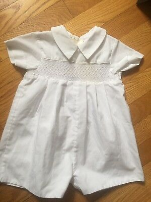 Rosalina Boys Blue Christening Bubble Outfit Smocked Crosses