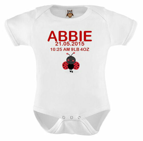 Personalised Baby Vest Named Weight Time and Date Personalised Baby Shower Girl