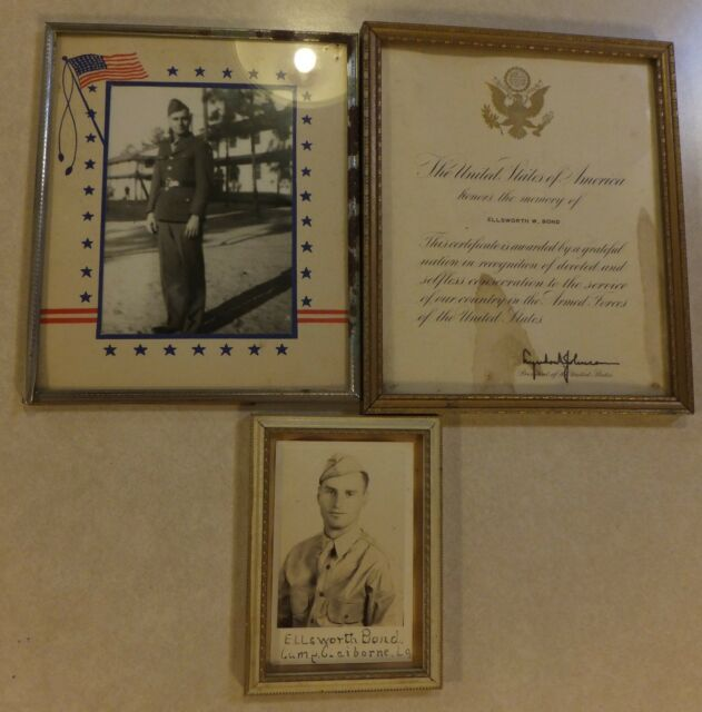 MILITARY PORTRAIT PICTURES ELLSWORTH W. BOND + U.S. CASUALTY CERTIFICATE SIGNED