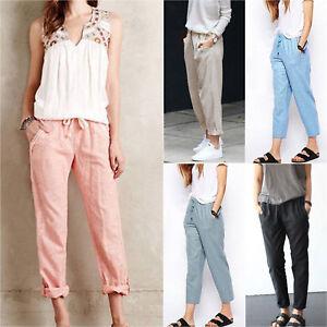 4e88ba2430 Plus Size Women Elastic High Waist Casual Pants Loose Fit Trousers ...