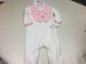 Hat Frank 639 Nwt Baby Girls Carters Adorable Footed Teddy Bear Pajamas Bib 6,9 Mo Diversified In Packaging