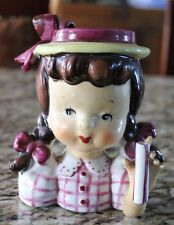 Vintage Napco Girl with Pigtails Head Vase Yellow and Purple