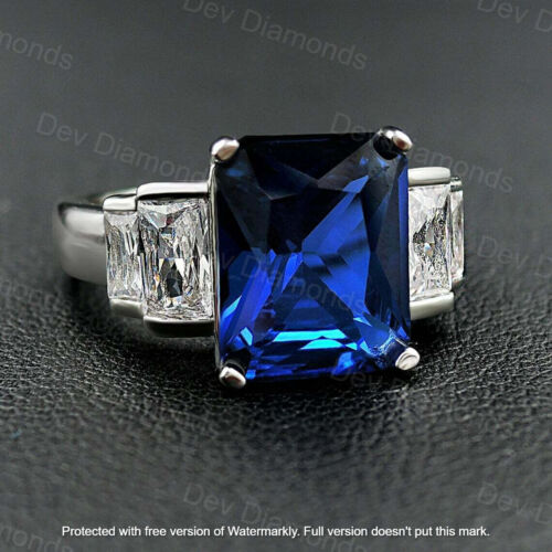 Details about  /3Ct Emerald Cut Blue Sapphire 5 Stone Anniversary Gift Ring 14K White Gold Over