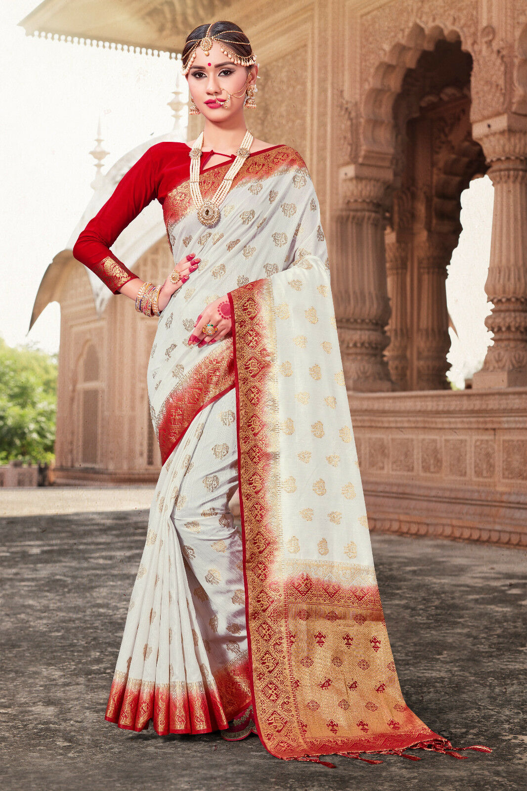 Indian Sari Saree Party Wear Designer White Woven Banarasi Art Silk -1177