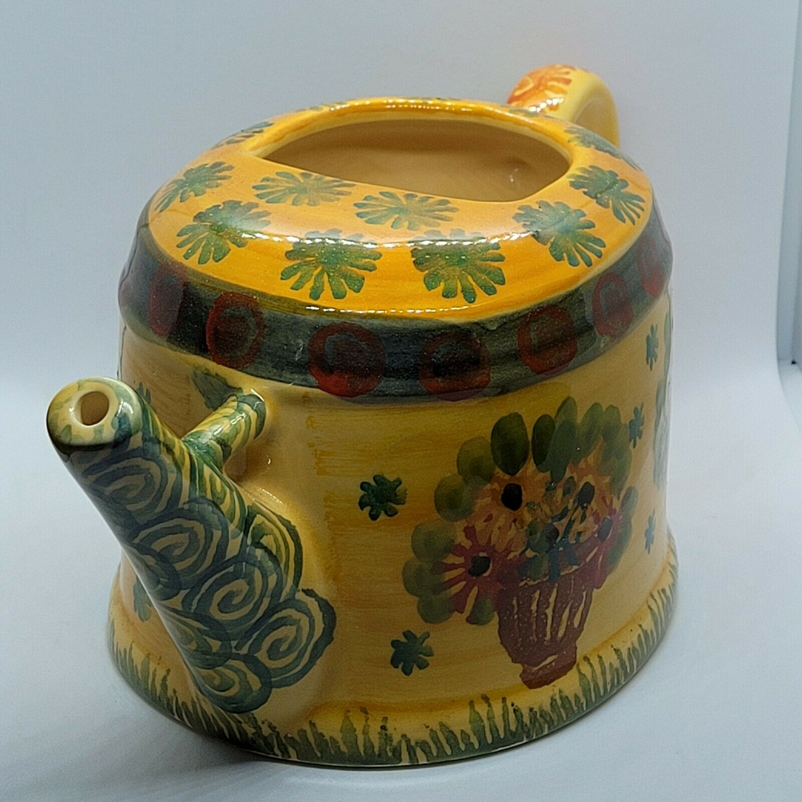 Vintage Watering Pitcher Can Made in Italy Large Hand Painted 5
