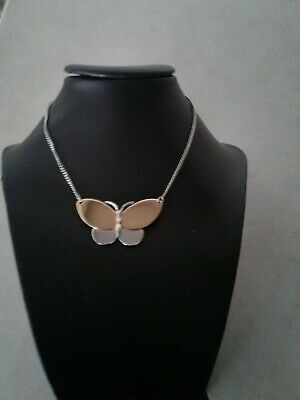BULK 10 Butterfly pendants  antique silver tone A360