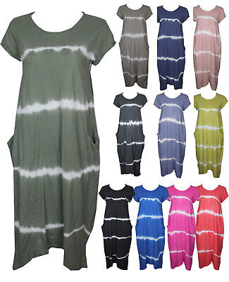Ladies Lagenlook Plus Boho Baloon Cotton Tye Dye Pocket Tunic Top Size 16-22