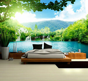 Image Is Loading Waterfall Nature Scenic Prepasted Wallpaper Wallcovering Home Decor