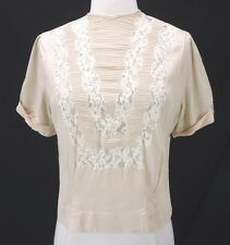 Vintage 50s Beige Rayon Pinup Blouse Pintuck & Lace Front Button Back M