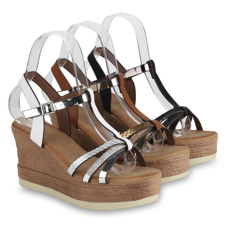 Damen Plateau Sandaletten Keilabsatz Schuhe Strass High Heels 822416 Schuhe