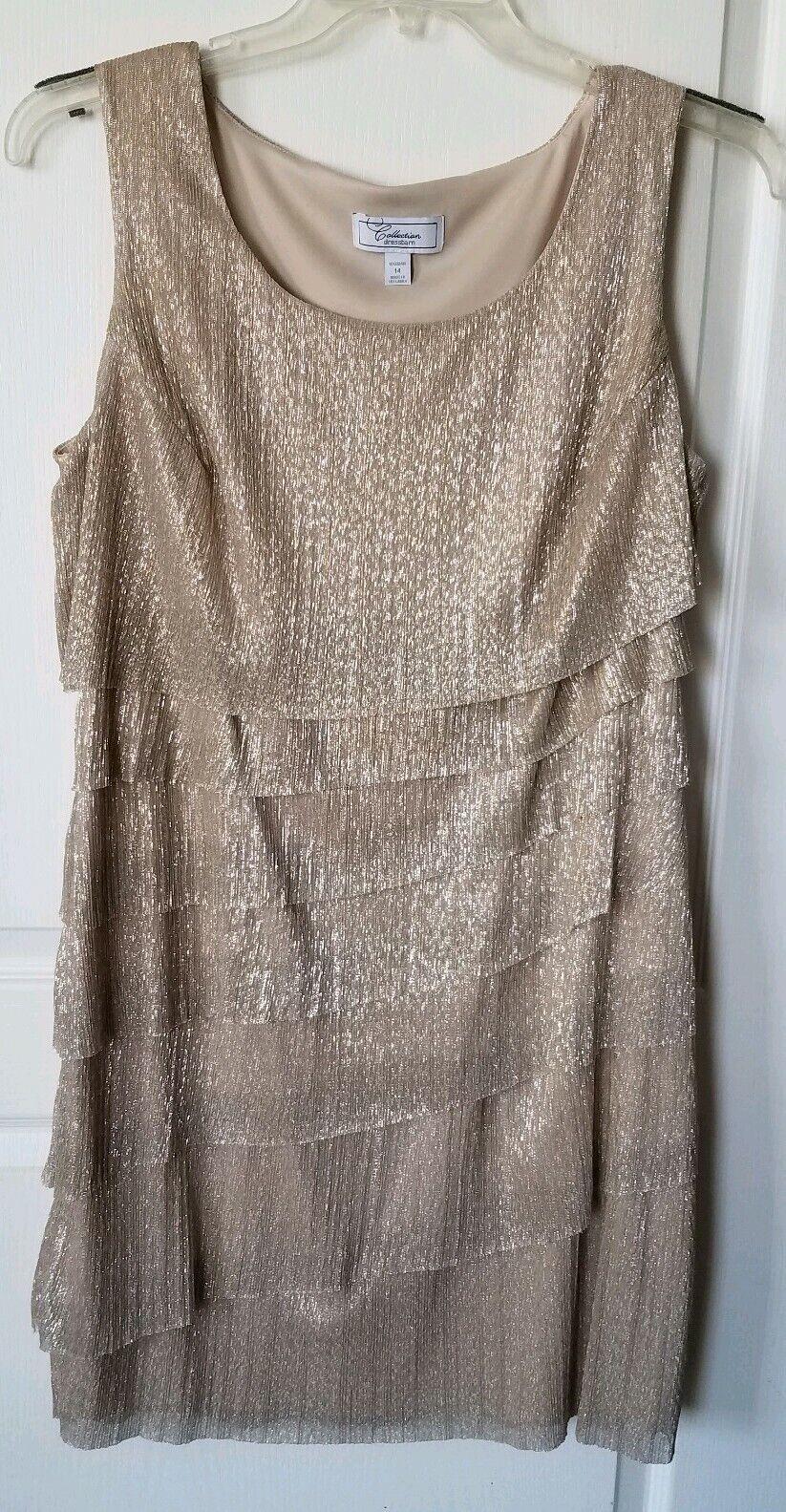 Dress Barn Collection Größe 14 Gold Layerot Dress