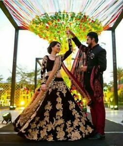 Two-Tone-Bollywood-Indian-Lehenga-Ethnic-Wedding-Bridal-Party-Wear-Lengha-Choli