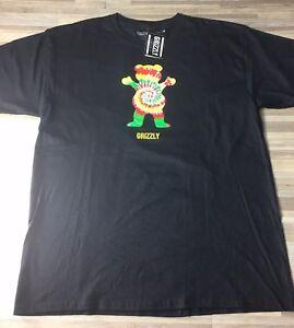 e26fd498 Grizzly Griptape Tie Dye Bear Men's Size LARGE Skatewear Black Tee T ...