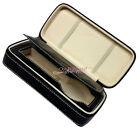 Black Genuine Real Leather Single Watch Storage Case Collector Zipper Travel Box