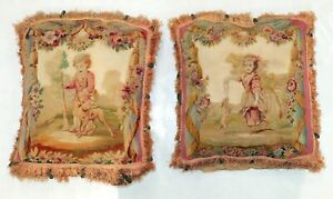 Pair-of-Antique-French-Aubusson-Tapestry-18th-Century-Pillows
