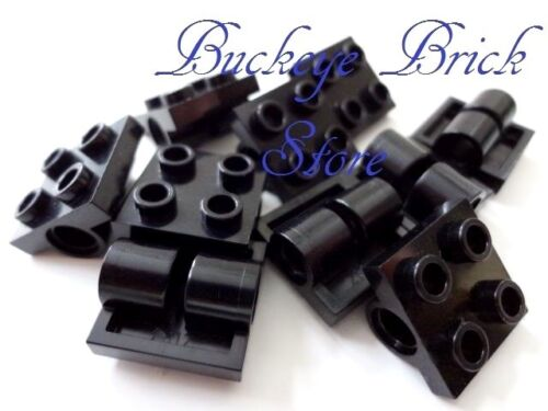 10 LEGO Black Plates Modified 2x2 with Double Technic Pin Axle Holes
