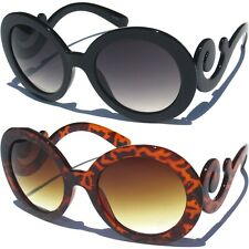 Designer Inspired Oversized High Fashion Sunglasses W Baroque Swirl Arms Black For Sale Online Ebay