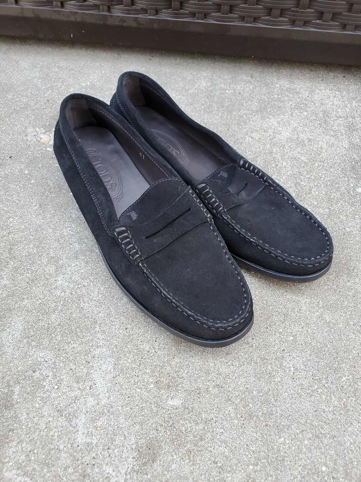 Tods donna nero suede leather loafers 41
