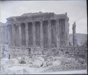 Libano Baalbek Tempio Bacco Archeologia, Negativo Foto Stereo Placca Lente PL59