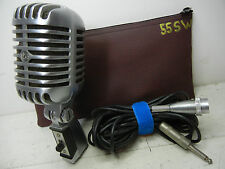 SHURE 55SW DYNAMIC UNIDYNE MICROPHONE ELVIS DECO MIC WITH CABLE AND POUCH NICE !