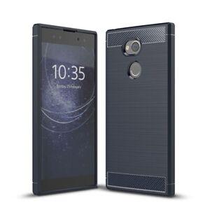 Sony-Xperia-XA2-Ultra-Funda-Estuche-Movil-Protector-Carcasa-Carbono-Azul