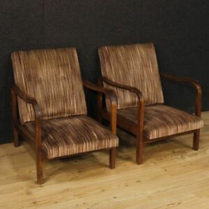 Details about Armchairs couple chairs italian design furniture living room  wooden fabric pair