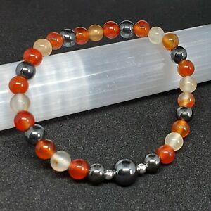 Carnelian Sacral Chakra Stretch Bracelet. Crystal Reiki Gemstone Healing