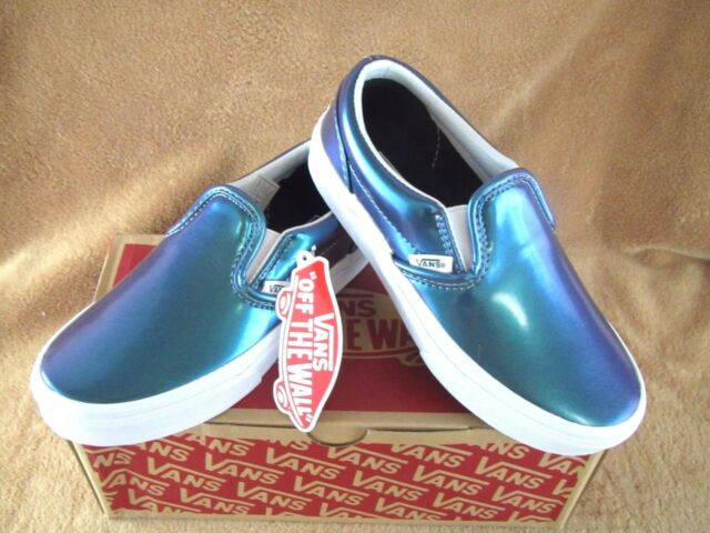 77d0797723 VANS Classic Slip on Shoes Kids Girls 10.5 Patent Leather Metallic ...