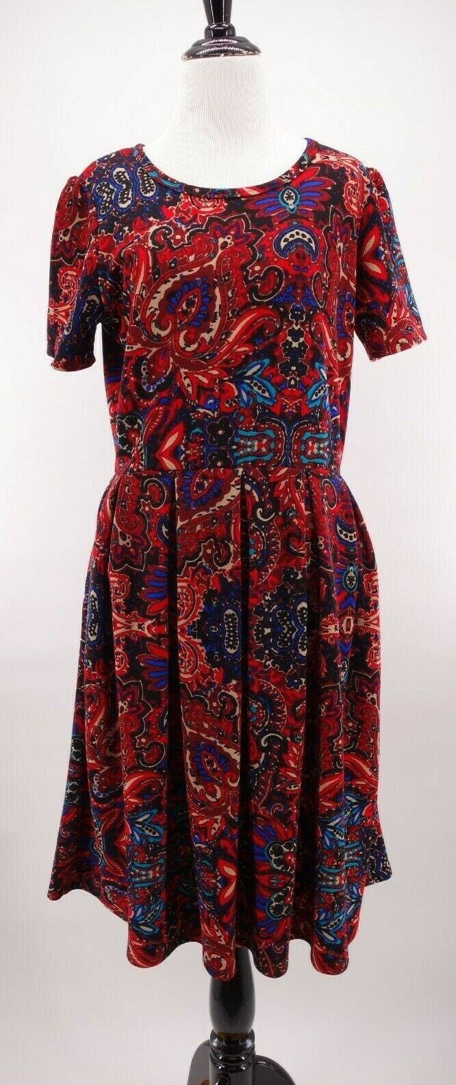 LuLaRoe XL Amelia Tea Dress Exposed Zipper rot Blau Paisley Ikat Baroque Print