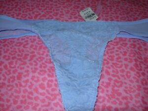 43560359cab Victoria s Secret PINK Thong Panty Pantie Luxe Velvet BLUE SMALL ...