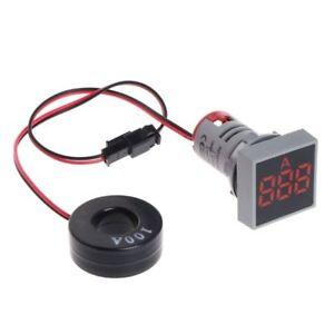 Panel-mount-Square-shape-100A-AC-Digital-Ammeter-Amp-Meter-Red-LED-display