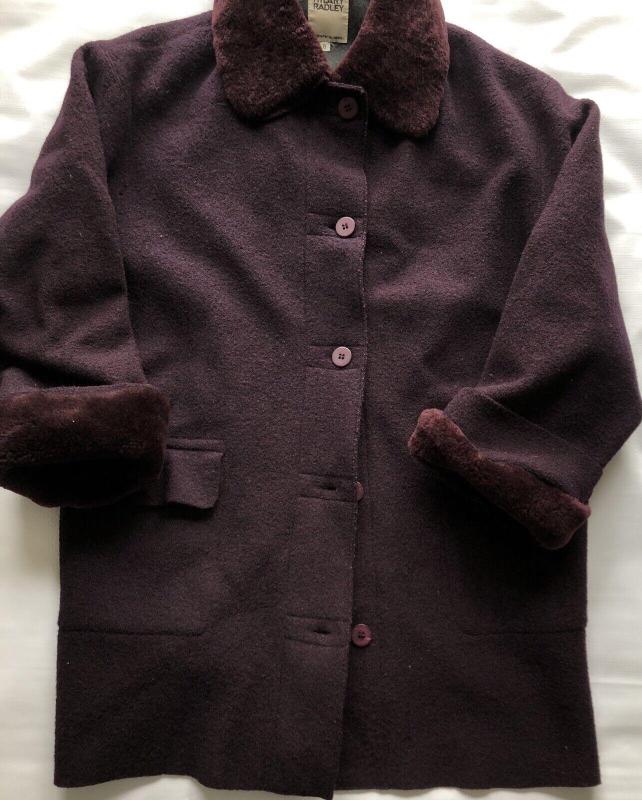 Hilary Radley Plum Purple Boiled Wool Coat Coat Coat Size 8 w  Full Lining Faux Fur Trim 33465c