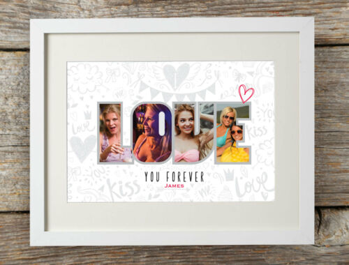 Personalised Love Forever Photo Print Gift Word Art Engagement Valentines Gift